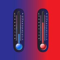 Thermometer on a blue and red background