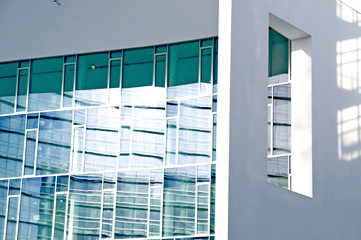 detail of a modern building in a business area