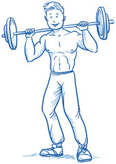 Happy young muscular fitness man doing workout
