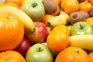 close up of various seasonal fruits