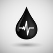 Oil drop icon with a heart beat sign
