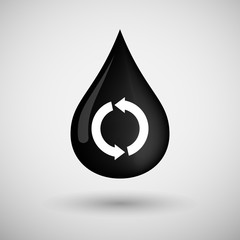 Oil drop icon with a recycle sign