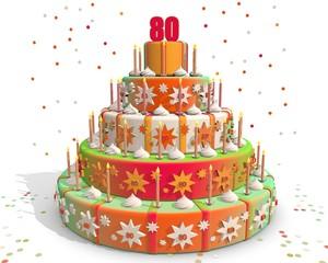 Feestelijke gekleurde taart met cijfer 80