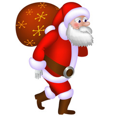 Illustration of Santa Claus carrying a bag with gifts.