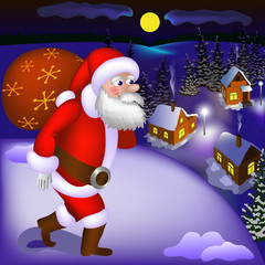 Santa Claus coming with gifts to the snowy town at night