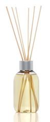 Spa aromatherapy on white. Vanilla oil diffuser isolated