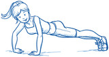 Happy young fitness woman doing workout, push ups, hand drawn