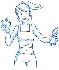 Happy young fitness woman, apple and water, hand drawn vector