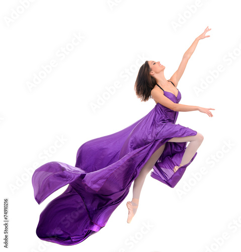 In de dag Dance School jumping girl dancer in flying purple dress