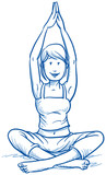 Happy young woman doing yoga, fitness, hand drawn vector