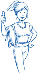 Happy young fitness woman showing thumbs up