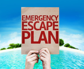 Emergency Escape Plan card with beach background