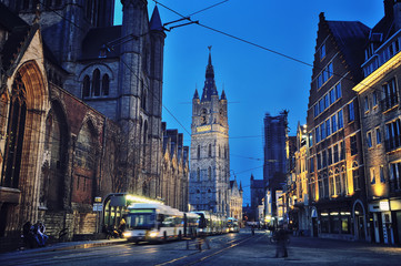Ghent, located in the Flemish region at night