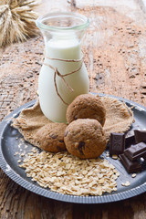 Healthy homemade oatmeal cookies on a wooden table