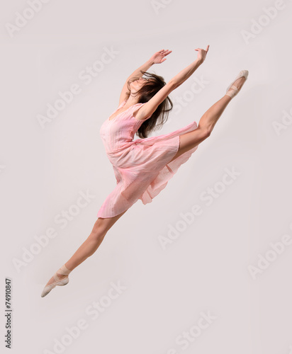 Fotobehang Dance School jumping professional ballet girl dancer
