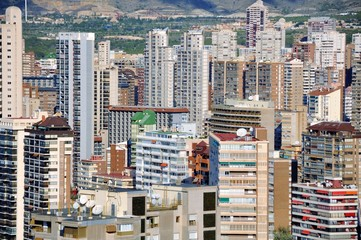 Aerial view of Benidorm skyscrapers