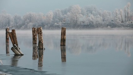 foggy winter landscape