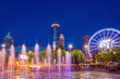 Centennial Olympic Park in Atlanta during blue hour after sunset - 74911204