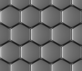 Metal surface of steel hexagons seamless background