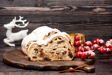 Christmas stollen and Christmas decorations