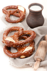 Pretzels with milk in a rustic style
