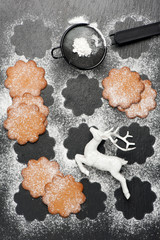 Gingerbread Christmas cookies with powdered sugar