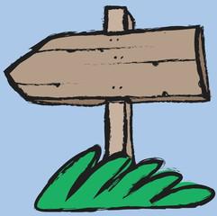 cartoon wooden signboard