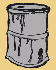 cartoon metal barrel