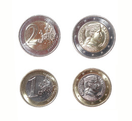 one and two 1 euro 2 coin money obverse reverse Latvian Republi