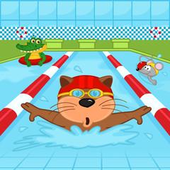 animals in pool - vector illustration, eps