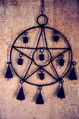 Pentagram wind chime with bells