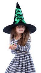 Little girl Witch in hat asks candy isolated on white