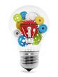 Colorful gears inside the light bulb
