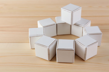 Educational cubes, on wooden background