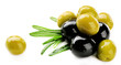 Green and black olives with long leaves isolated on white - 74913468