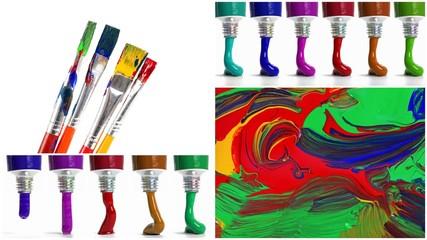 Pinsel, Farben und Malerei