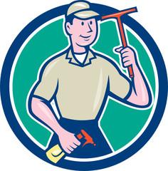 Window Washer Cleaner Squeegee Circle Cartoon