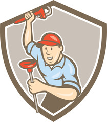 Plumber Wrench Plunger Front Shield Cartoon