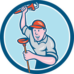 Plumber Holding Wrench Plunger Circle Cartoon