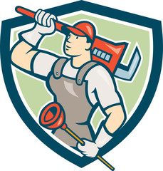 Plumber Holding Wrench Plunger Shield Cartoon