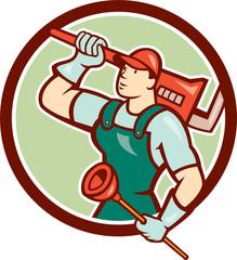 Plumber Holding Wrench Plunger Circle Cartoon