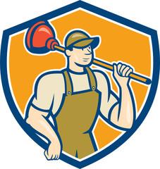 Plumber Holding Plunger Shield Cartoon