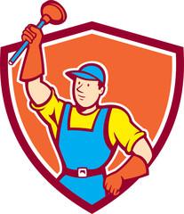 Plumber Holding Plunger Up Shield Cartoon