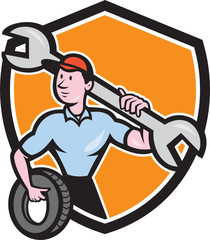 Mechanic Spanner Wrench Tire Shield Cartoon