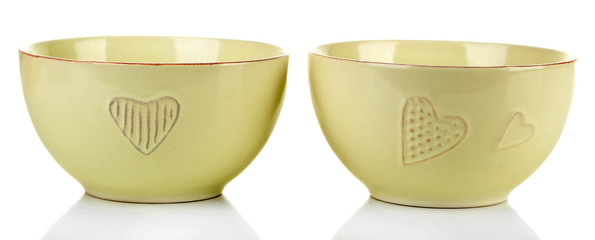Empty bowls, isolated on white