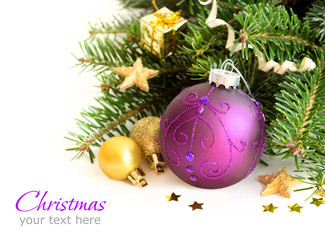 Purple and golden Christmas ornaments border