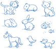 Cute set of pets, dog, cat, horse, bunny, hand drawn vector - 74915858