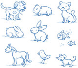 Cute set of pets, dog, cat, horse, bunny, hand drawn vector