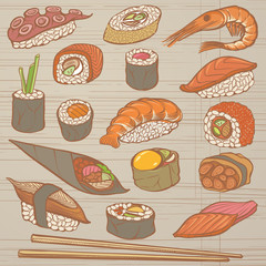 Drawn Sushi and Japanese Dishes