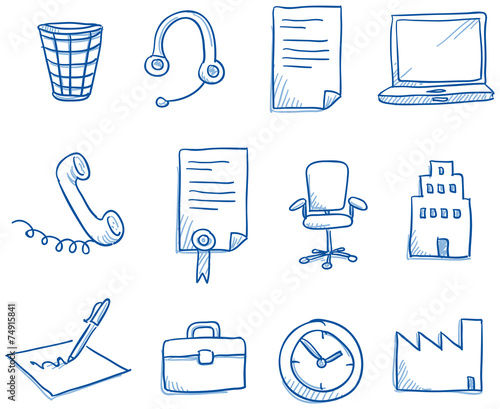 Icon set business office & communication - 74915841
